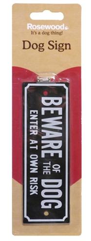 Beware of the dog waakbordje (15X5 CM)