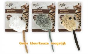 Afp wooly mouse lamswol met piep en catnip assorti (7X7X3 CM)