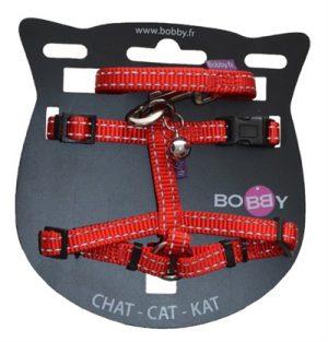 Bobby kattentuig en looplijn nylon reflecterend rood (25-38X1 CM)