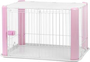Puppyren met dak roze (92X63X60 CM)
