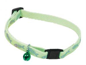 Kattenhalsband fluorisend groen met visgraat print (10 MMX25-35 CM)