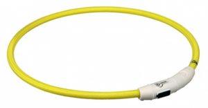 Trixie halsband flash light lichtgevend usb oplaadbaar geel (7 MMX65 CM)
