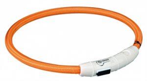 Trixie halsband flash light lichtgevend usb oplaadbaar oranje (7 MMX65 CM)