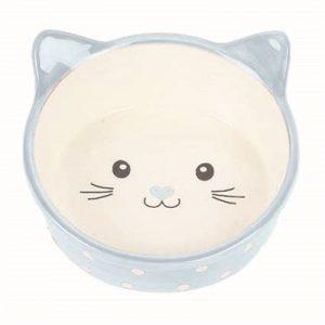 Happy pet voerbak kat polka blauw / creme (300 ML)