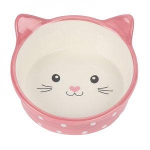 Happy pet voerbak kat polka roze / creme (300 ML)