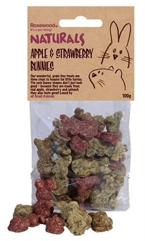 Rosewood appel / aardbeien konijntjes (100 GR)