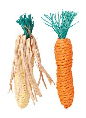 Trixie wortel en maiskolf met stro (15 CM 2 ST)