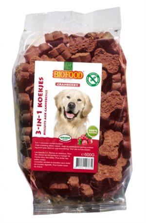 Biofood 3 in 1 hondenkoekjes met cranberry (500 GR)