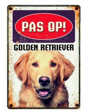 Plenty gifts waakbord blik golden retriever (15X21 CM)