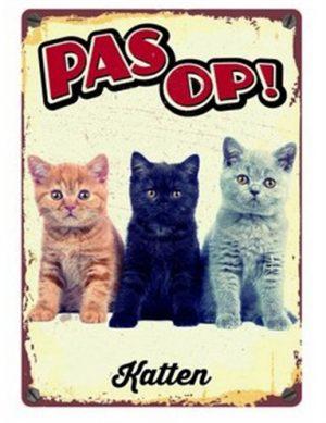 Plenty gifts waakbord blik katten (15X21 CM)