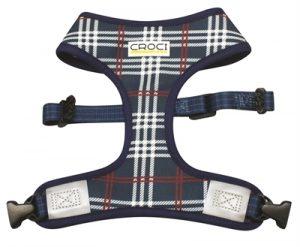 Croci hondentuig cambridge tweezijdig ruit / visgraat blauw / rood (42-55 CM)