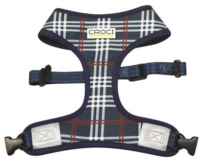Croci hondentuig cambridge tweezijdig ruit / visgraat blauw / rood (30-39 CM)