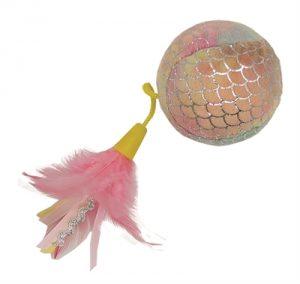 Happy pet mermaid bal groot met veren roze (30X8X8CM)