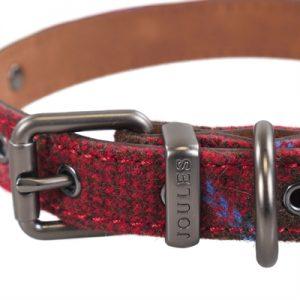 Joules halsband hond heritage tweed leer rood (25,5-35,5X1,5 CM)