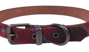 Joules halsband hond heritage tweed leer rood (56-66X3,8 CM)