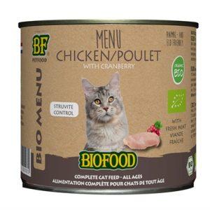 Biofood organic kat kip menu blik (12X200 GR)