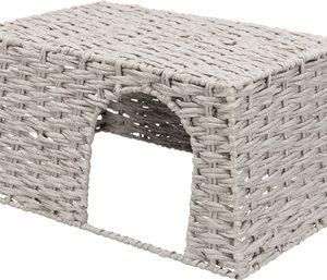 Trixie huis voor konijnen papiergaren grijs (45X30X20 CM)