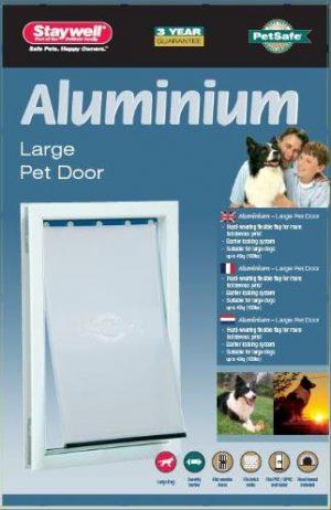 Petsafe hondenluik tot 45 kg aluminium wit (640)
