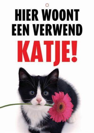 Waakbord nederlands kunststof verwend katje (21X15 CM)