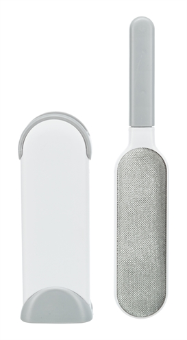 Trixie harenpluizenborstel met reinigingsstation wit / grijs (33 CM)