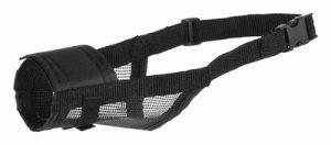 Trixie muilkorf polyester met gaas inzet zwart (L 26-42 CM)