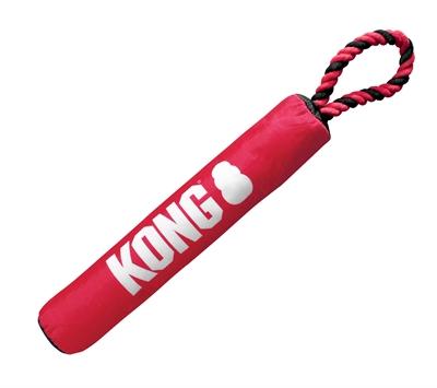Kong signature stick met touw rood / zwart (30X5X5 CM)