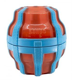 Kong treat spinner voer / snack dispenser oranje / blauw (17X15X17 CM)